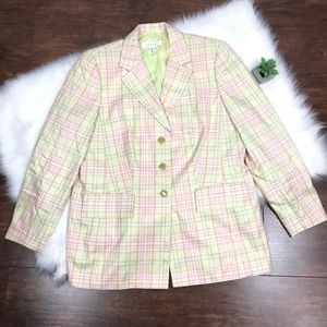 Escada Tartan Career Silk 3-Buttons Blazer Jacket